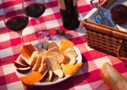 Picnic rug with wine and snacks