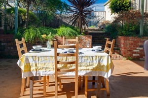 Back garden al fresco dining table and chairs